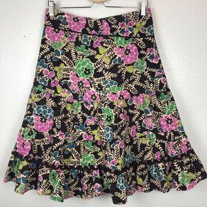 Anthropologie Fei Women Floral Corduroy Skirt Sz 6